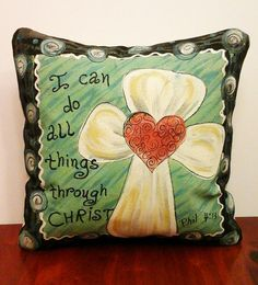 Decorative Pillow Cover Cross Whimsical by SippingIcedTea on Etsy