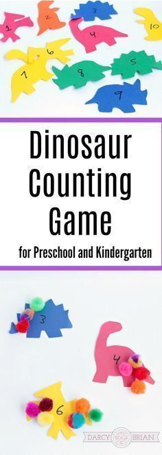 I love this easy DIY Dinosaur Counting game! It's the perfect dinosaur preschool activity. If you are looking for dinosaur preschool theme activities, this will fit right in! It's a fun learning activity for toddlers, preschoolers, kindergartners Counting Activities, Preschool Learning Activities, Fun Learning, Toddler Activities, Preschool Kindergarten, Toddler Preschool, Toddler Counting, Learning Games For Toddlers, Toddler Games