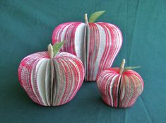 book page recycled paper apple sculpture by HBixbyArtworks on Etsy
