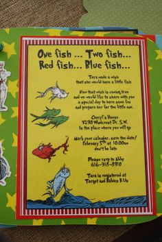 Dr. Seuss Baby Shower Menu | We also found a menu online and just adjusted it for our food items.