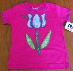 camiseta decorada con aplicaciones en tela aplique tulipan flor