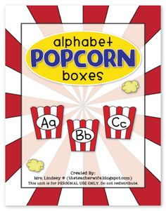 FREE alphabet popcorn boxes for your word-wall. These go great with popcorn words!