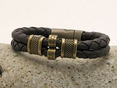 Men's leather bracelet.Braide mens leather with brass plated clasp.Mens bracelet.Personalized leather bracelet.Custom Jewelry