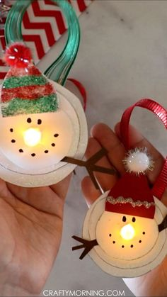 Melted Snowman Tea Light Ornaments- fun christmas craft for kids to make! Homema… Melted Snowman Tea Light Ornaments- fun christmas craft for kids to make! Diy Christmas Arts And Crafts, Christmas Ornament Crafts, Xmas Crafts, Christmas Fun, Snowman Ornaments, Kids Ornament, Diy Ornaments For Kids, Wood Crafts, Outdoor Christmas