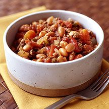 Weight Watchers Quick Beef and Pinto Bean Chili.  I made for dinner last night w/ ground chicken.  YUM!