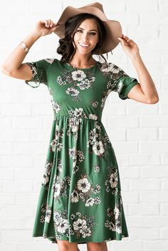 b22130cfed1b8 A gorgeous floral dress with the cutest ruffle detailed sleeves! $56.99  Nessa Modest Dress or