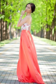 Coral and floral maxi dress. www.ZaZumi.com