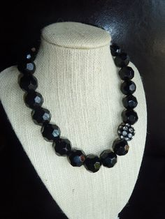 Chunky jet black glass beaded necklace with by terrygoddard, $33.00