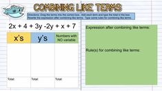Digital math notebook Tip #9- be mindful of math symbols. it can be helpful for students to have drag-and-drop terms and math simples, like in this Combining Like Terms Notes Page. Check out all 10 tips to help students get the most out of digital math notes! Absent Students, Combining Like Terms, Notes Online, Math Notes, I Can Statements, Secondary Math, 8th Grade Math, Technology Tools, Interactive Notebooks