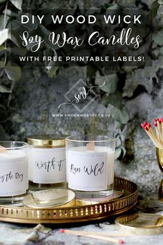 DIY Wood Wick Candles with Soy Wax Essential Oils and Free Printable Labels! The post DIY Wood Wick Candles with Soy Wax Essential Oils and Free Printable Labels! appeared first on Diy. Diy Candles Easy, Homemade Candles, Making Candles, Diy Tumblr, Diy Candle Labels, Candle Jars, Candle Maker, Wood Wick Candles, Soy Wax Candles