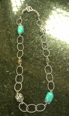 Turquoise/Wood/Bali link necklace