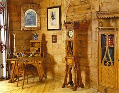 Villa 'Koliba', Zakopane | Poland drewno-materiał podstawowy, jednolity kolor sporo koloru wnosiły tkaniny
