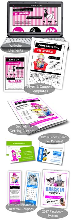 47 Easy & Inexpensive Ways To Get More Pet Grooming Clients plus ALL NEW groomer templates for website banners, Facebook page covers, marketing pieces and much more from http://www.petgroomingmarketingkit.com/pet-dog-grooming-business-advertising-marketing-templates-forms-groomer.html
