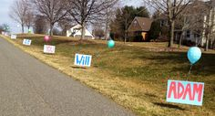 """Signs along the road spelling out """"will you go to the prom with me"""""""