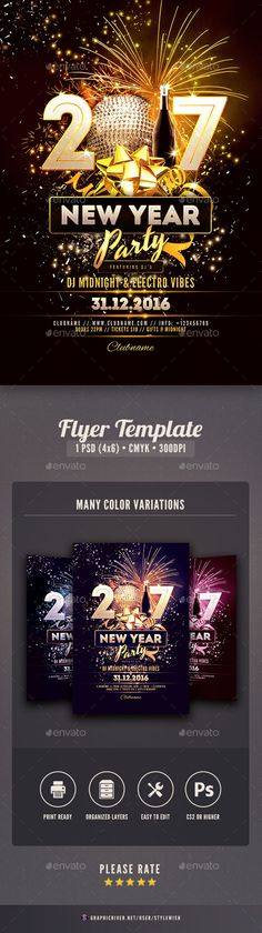 New Year 2017 Flyer Template PSD