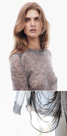 MALGOSIA BELA THEORY FW 2011 2012 JOSSETA GREY GRAY SWEATER TRANSPARENT RUMI NEELY FASHION TOAST PHOTO DELICATE SIMPLE KNIT