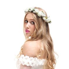 Valdler Jasmine Flower Crown with Adjustable Ribbon for Wedding Festivals Ivory ** Want additional info? Click on the image.(This is an Amazon affiliate link and I receive a commission for the sales)