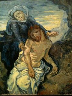 Vincent Van Gogh (1853-1890) Pieta, after Eugene Delacroix (c. 1890) Oil on canvas. 41.5 by 34 cm. Vatican Museums, Vatican City.