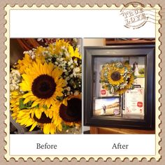 Before and after preservation photos! I love this country theme with the sunflowers! Must do for my wedding! Flower Preservation, How To Preserve Flowers, Sunflowers, Preserves, Country, Frame, Awesome, Photos, Wedding
