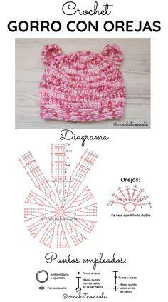 Gorro con orejas de oso a crochet. Paso a paso con indicaciones para todos los talles. Crochet Backpack Pattern, Crochet Baby Hat Patterns, Crochet Baby Boots, Crochet Kids Hats, Crochet Toddler, Crochet For Boys, Crochet Scarves, Crochet Clothes, Crochet Stitches