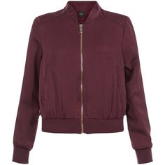 New Look Petite Burgundy Sateen Bomber Jacket ($41) ❤ liked on Polyvore featuring outerwear, jackets, burgundy, long sleeve jacket, petite jackets, blouson jacket, burgundy bomber jacket and purple jacket