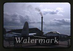 1950s Kodachrome photo slide USAF F-84 Military jet airplane Kisarazu AB Japan 3