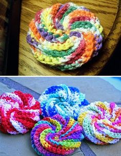 Spiral Scrubbie - Free Pattern Crochet Patterns Only: Spiral Scrubbie updated I wonder if these could be sewed together to make a cute blanket Gilet Crochet, Knit Or Crochet, Crochet Gifts, Easy Crochet, Dishcloth Knitting Patterns, Knit Dishcloth, Loom Knitting, Crochet Patterns, Crochet Ideas