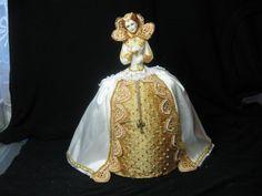 Porcelain Half Doll Boudoir Doll Pincushion Doll Dresser doll.  Queen Elizabeth 1st in Gold and White.  Tudor doll    New