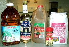 Apple Pie Shots ~ 1 Gallon apple juice, 1 Gallon apple cider, 7 Cinnamon sticks, 4 Cups of sugar, 1 Liter of Everclear. Make sure you have lots of guests for this one.  The full recipe makes a ton!