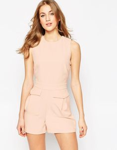 ASOS   ASOS Woven Occasion Romper with Patch Pockets at ASOS