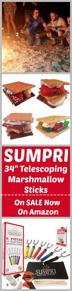 "SUMPRI Barbeqa Marshmallow Roasting Sticks Telescoping Marshmallow Roasting Sticks Extra Long 34"" Set of 6 Campfire Forks Cooking Skewers for Smores, Hotdogs, Camping Cookware, Backpacking Gear, Bbq Grill, Fireplace Tools, Fire Pit Accessories Press this link now and get your set:http://amzn.to/2b5q486 This set of 6 forks is made by #sumpri #marshmallow #sticks #marshmallowroastingsticks #smoressticks #campfiresticks"
