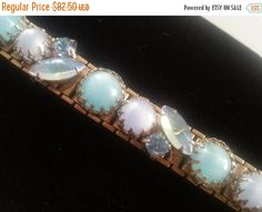 Cyber Monday Sale Vintage Blue Art Glass Opal Chunky Bracelet Juliana EXQUISITE 50 60s D & E Delizza Elster Collectible Jewelry Mad Men Mod by MartiniMermaid on Etsy https://www.etsy.com/listing/253683719/cyber-monday-sale-vintage-blue-art-glass