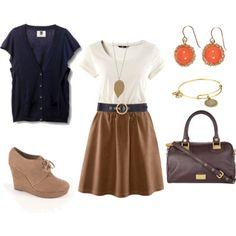 fall skirt & cardigan