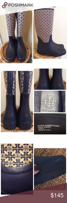 """TORY BURCH JACQUARD RAIN BOOTS Gently worn.  Super cute Tory Burch Jacquard Rain Boots in navy and white.  Minor scuff on one side as shown in Pic#3 and discoloration where the fabric & rubber boot meet.  Jacquard signature logo print leg cover with solid upper. Rubber covers high-arched upper and heel. Pull-on style. 1 1/4"""" heel with 5/8"""" platform.MEASUREMENTS ARE APPROXIMATE  Fabric lining.TRADES/LOWBALL NO BOX OR DUST BAG Tory Burch Shoes Winter & Rain Boots"""