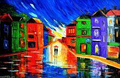 rain painting couple original oil on canvas signed Impressionism art MALORCKA #Impressionism