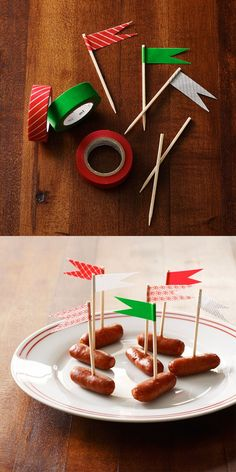 Bring any color scheme to your toothpicks with decorative tape and some scissors!