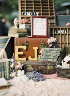 books as wedding decoration
