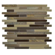 Jeffrey Court, Inc.  Elegant Trail Pencil 12 Inch x 12 Inch Glass/Slate Mosaic Wall Tile (10 Sq. Ft./Case)$149.90