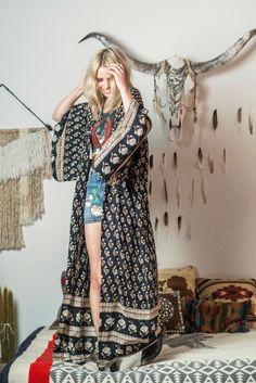 Bohemian Royale Maxi Kimono - Charcoal  Gypsy Boho Rock n Roll Style
