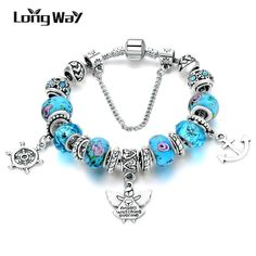 LongWay New Design Silver Color Angle & Anchor Beads With Blue Crystal Glass Beads Bracelet for Women Jewelry Cheap Bracelets, Beaded Bracelets, Women's Bracelets, Bangles, Handmade Bracelets, Blue Crystals, Blue Beads, All About Fashion, Fashion Details