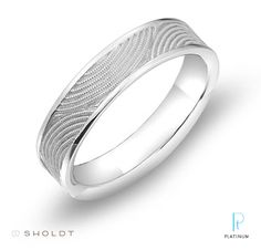 """A featured Platinum must-have on The Knot! Sholdt """"Sunrise, Sunset"""" platinum wedding band featuring hand-milled details."""