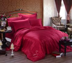 Ruby Red Silk Bed Sheets Luxury Bedding Bed by SilkyAffection