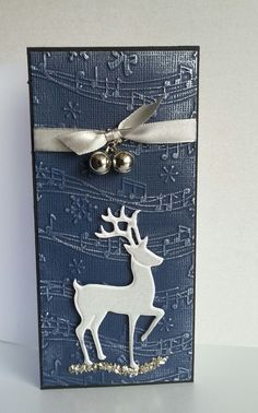Crafter's Companion - Create A Card 'Over the rooftops' Classique Christmas 'Elegant Reindeer' Vintage Music Embossing Folder Vintage Christmas Sentimental Stamp Frantage Silver Crushed Glass Glitter Cordination Card Centura Pearl Card Black Card Collall Tacky Glue