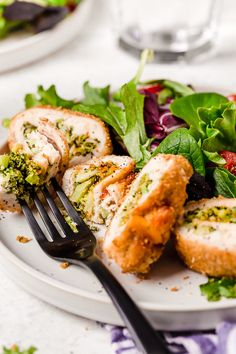 Broccoli and Cheese Stuffed Chicken are filled with cheddar and broccoli, then rolled up, breaded and baked in the oven or air fryer!