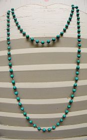 Long Turquoise Bead Chain Layering Necklace