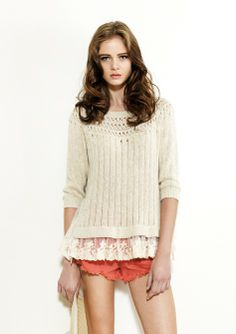 Spring 2014 Women Coral and ivory Haberdashery, Spring 2014, Cashmere, Coral, Ivory, Autumn, Lace, Tops, Women