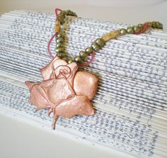Copper Rose Pendant Necklace, Freshwater Pearls, Bone Beads, Eco-Friendly Design by RetroRevivalBoutique