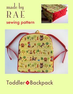 Sewing pattern for toddler backpack from Made by Rae.  $6 apparently this is a really great  popular pattern, although it may not fit a standard folder like Kindergarten requires.