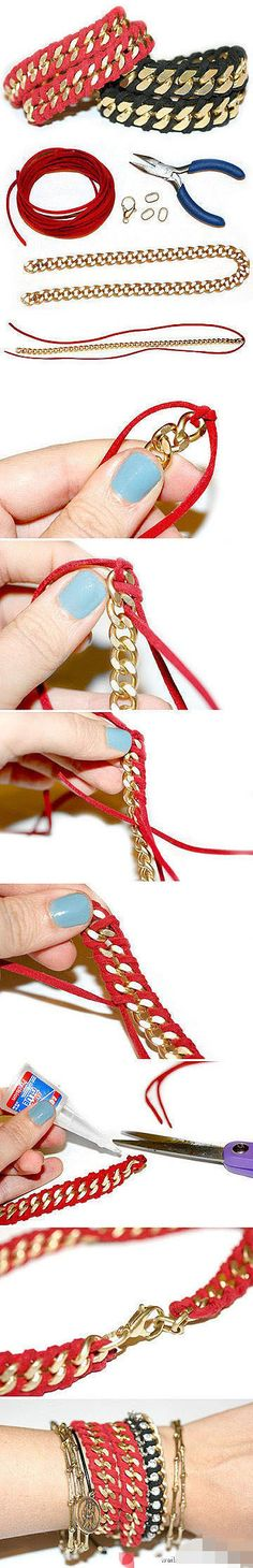 Very cute and easy chain bracelet DIY.