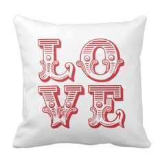 Red Love Square Vintage Typography Throw Pillow